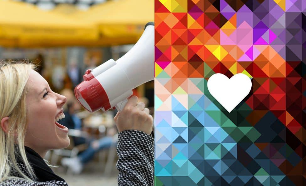 Build Brand Ambassadors - Girl with megaphone - Hummingbird Creative Group